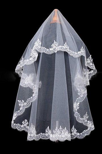 véu de noiva clássico uma camada em tule bordado aplica