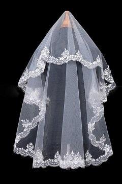 Voile de mariée classique 1 couche broderie applique en tulle