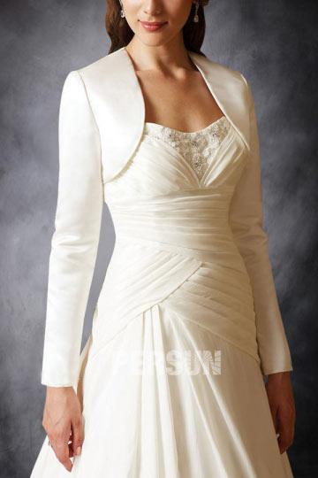 Long Sleeves Satin Bridal Jacket/ Wedding Wrap