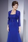 Elegant Long Chiffon Square Neck Mother Of The Bride Dress with Jacket