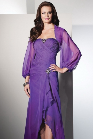 Dressesmall Long Sleeves Purple Rhinestones Bridal Wrap