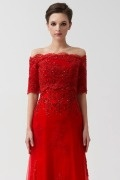 Beautiful Red Half Sleeves Lace Wedding Wrap