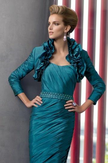 Dressesmall Modern Ruffles Long Sleeves Taffeta Wrap