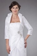 White Sleeved Taffeta Wrap