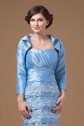 Long Sleeves Taffeta Blue Wrap