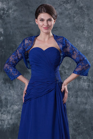 Dressesmall Vintage Blue Sleeved Embroidery Lace Wrap