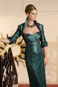 Half Sleeves Green Taffeta Wrap