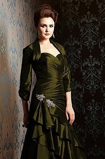 Dressesmall Green Taffeta Sleeved Wrap