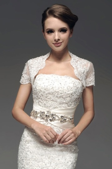 Dressesmall Short Sleeves Embroidery Wedding Wrap