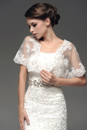 Dressesmall Transparent Short Sleeves Lace Wrap