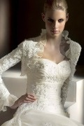 Embroidery Ruffles Long Sleeves Wedding Wrap