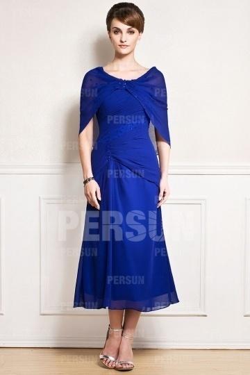 Dressesmall Special Dark Blue Beading Chiffon Long Wraps