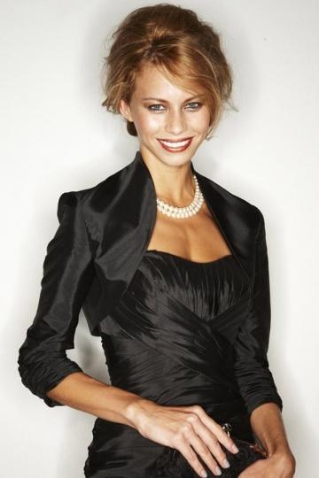 Dressesmall Black Sleeved Ruched Taffeta Wraps Persun