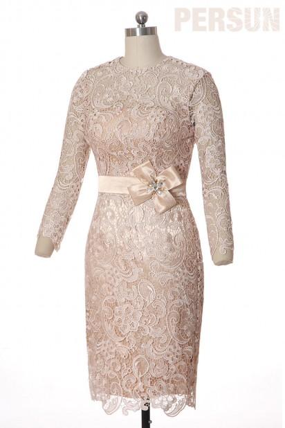 Elegant Neu Knielang Spitze Etui Linie Abendkleid mit Ärmeln aus Spitze Persun