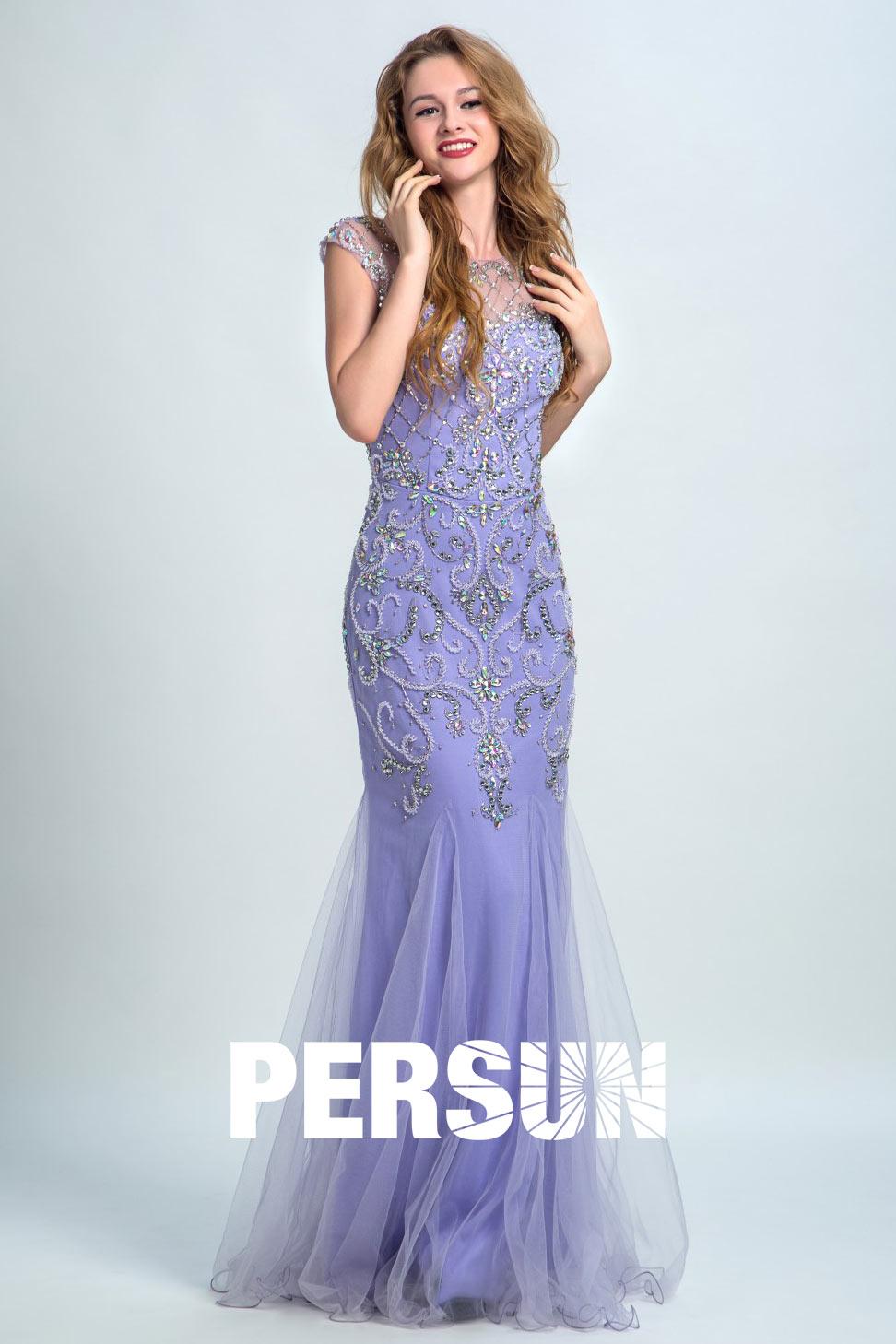 Elegant Lang Etui-Linie Tüll Abendkleider mit Sequins Kristall