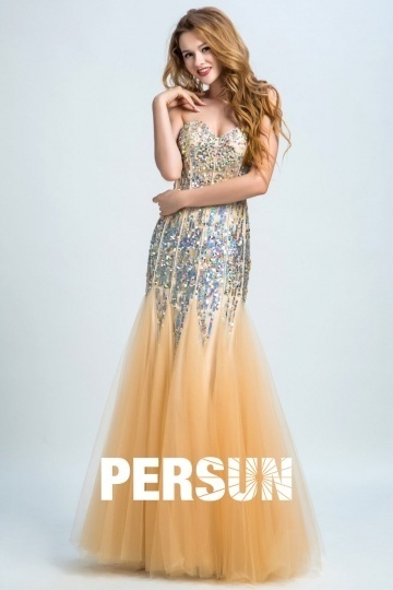 Dressesmall Elegant Sweetheart Sheath Sequins Long Prom Dress
