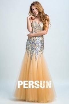 Sexy Herz-Ausschnitt Sequins Trompete Abendkleider aus Tüll