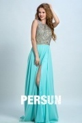 Sexy Sequins Backless Prom Long Prom Gown Persun