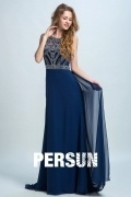 Persun Vintage Scoop Embroidery Long Prom Dress