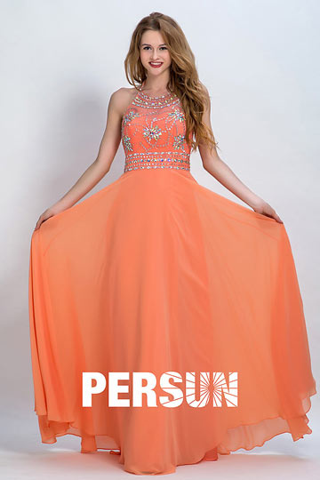 Persun Sexy Backless Flower Long Evening Dress
