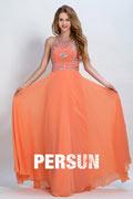 Sexy Rückenfreies Halter Orange A-Linie lang Abendkleider