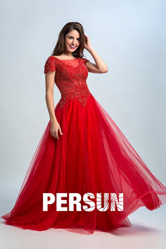 Persun Vintage Red Sleeved Embroidery Evening Dress