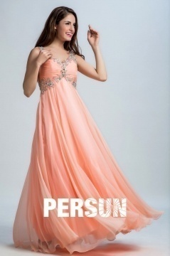 Persun Sexy Backless Flower Long Prom Dress