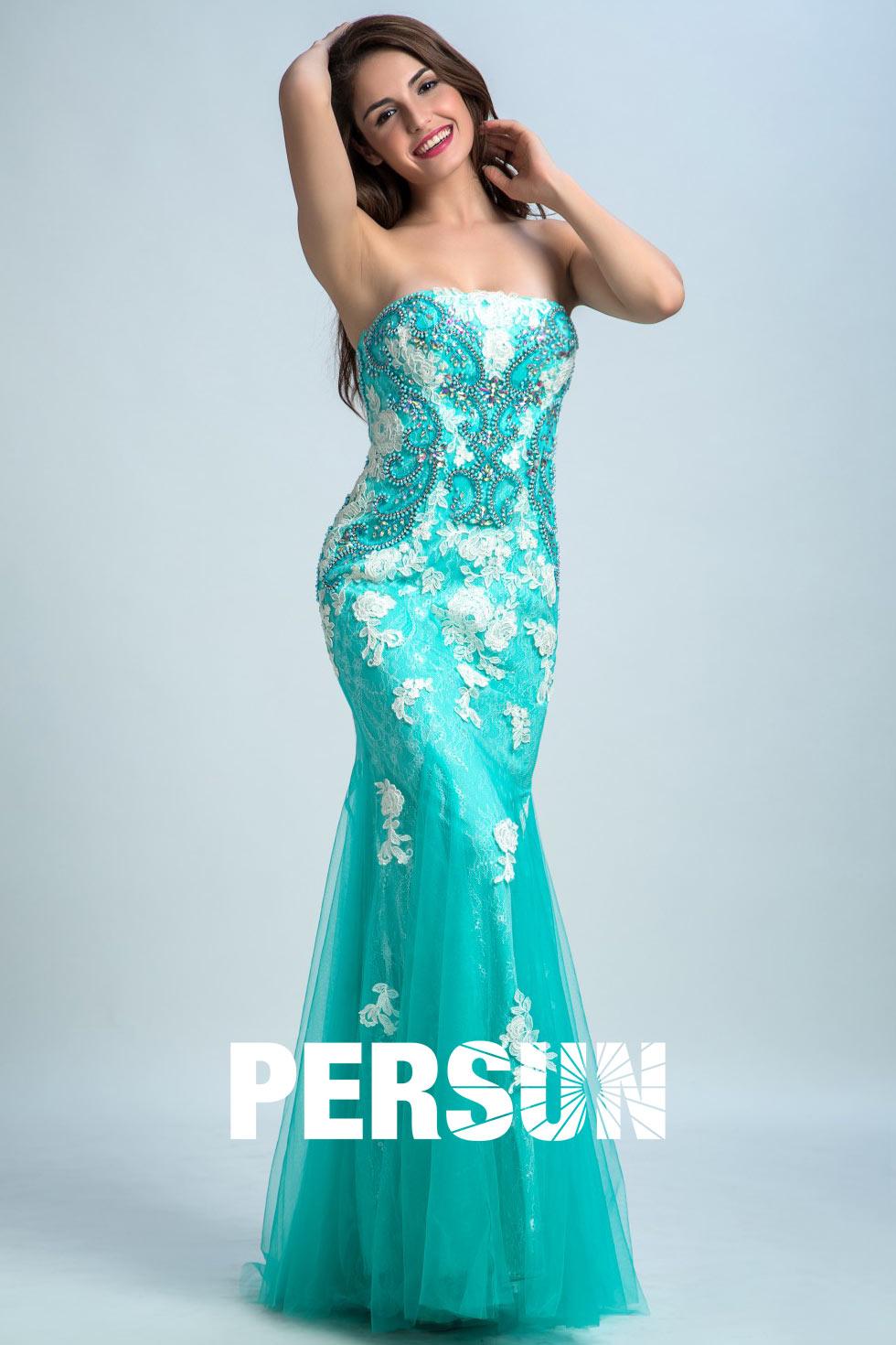 Deckleisten Meerjungfrau blau lang träglos Abendkleid aus Tüll