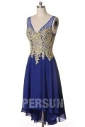Blue Short High-Low Cocktail Dress in V-neck with Applique Lace