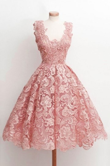 Lace Little Pink Dress For Prom Cocktail Party