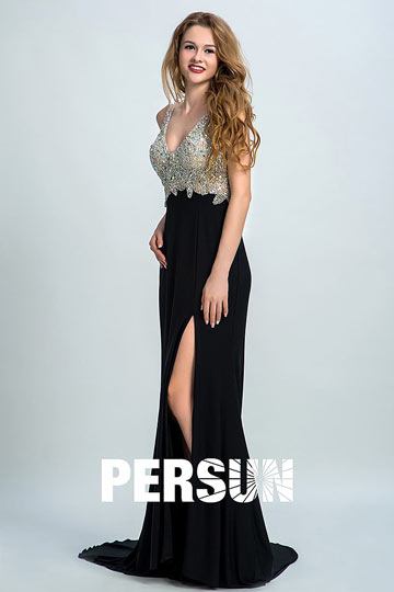 Dressesmall Persun Mermaid V Neck Crystal Details Backless Prom Dress