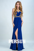 Persun Unique Jewel Neck Crystal Details Long Evening Dress