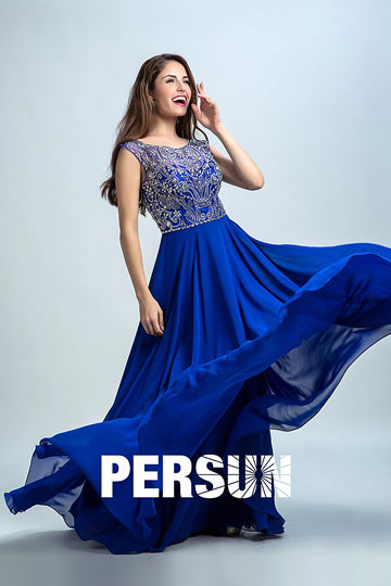 Dressesmall Persun Scoop Backless Crystal Details Long Prom Dress