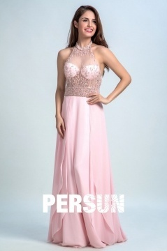 Persun Sexy Sheer Backless Crystal Details Long Evening Dress