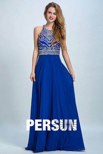 Persun Elegant Backless Crystal Details Long Evening Dress