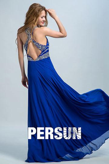 2016 Modern A-Linie Blau  Ärmellos Abendkleider aus Chiffon Persun