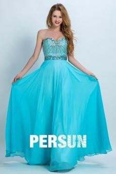 Robe de bal longue bleu cyan bustier coeur