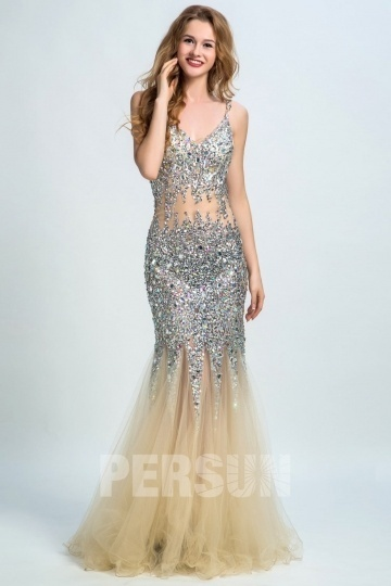 Dressesmall Persun Sexy Mermaid Backless Sequin Long Prom Gown