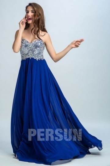 Persun Gorgeous Strapless Sequin Long Evening Gown