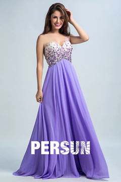 Persun Elegant Backless One Shoulder Long Evening Gown