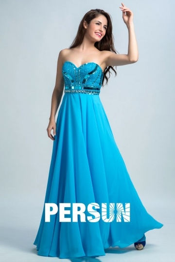 Dressesmall Persun Elegant Sweetheart Sequin Long Prom Gown