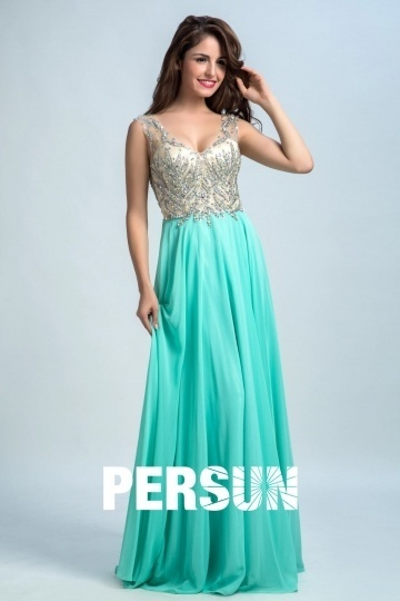 Persun V Neck Crystal Details Long Evening Gown