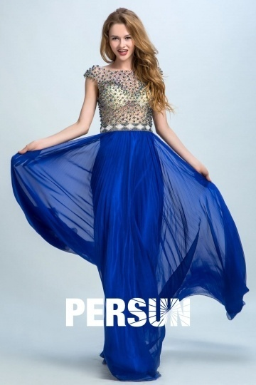 Persun Elegant Sleeved Beading Long Evening Gown