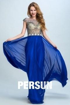 Persun Elegant Sleeved Beading Long Prom Gown
