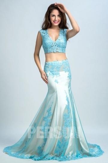 2016 Sexy 2-Piece Blau Meerjungfrau Abendkleider aus Tüll Persun