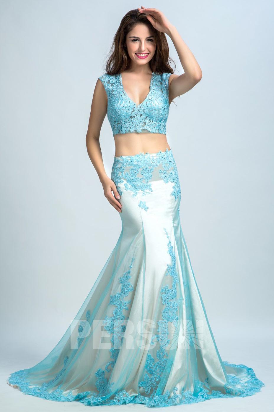 Meerjungfrau-Stil V-Ausschnitt Pinsel-Schleppe Spitze Sticheln Perle hell blau Ballkleid lang