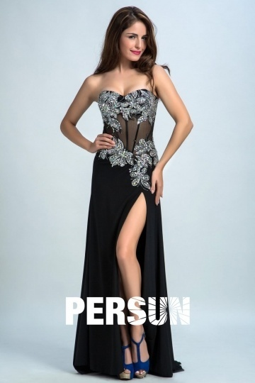 Dressesmall Persun Sexy Sweetheart Side Slit Long Prom Gown