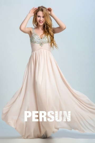 Dressesmall Persun Elegant V Neck Long Prom Gown