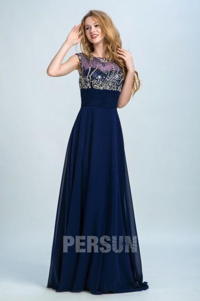Modisch A-Linie lang Chiffon Abendkleider in Blau Persun