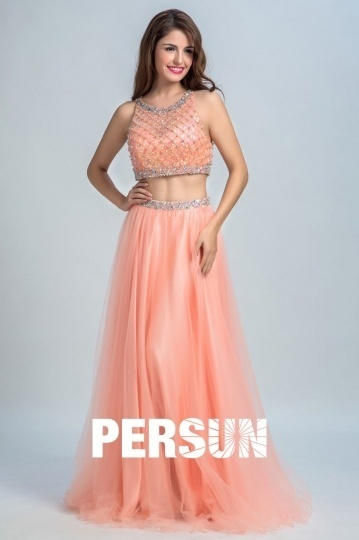 Dressesmall Persun Unique Scoop Long Prom Gown